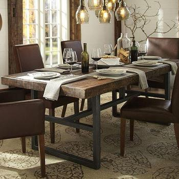 Reclaimed Wood Top Iron Based Dining Table