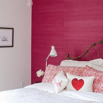 Hot Pink Grasscloth Wallpaper, Eclectic, bedroom, The Cross Decor & Design