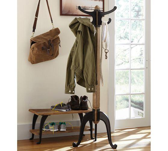 Industrial Metal And Wood Coat Rack