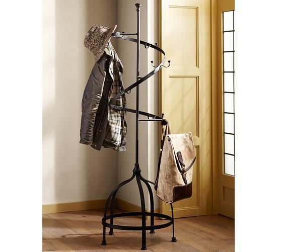 Industrial Spiraling Iron Coat Rack