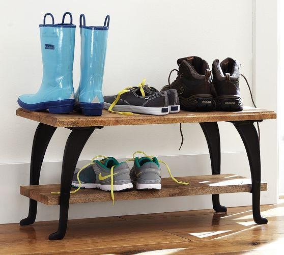 Industrial Curved Iron Legs Wood Shelves Shoe Rack