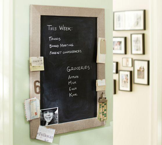 Pinboard Taupe Linen Framed Chalkboard