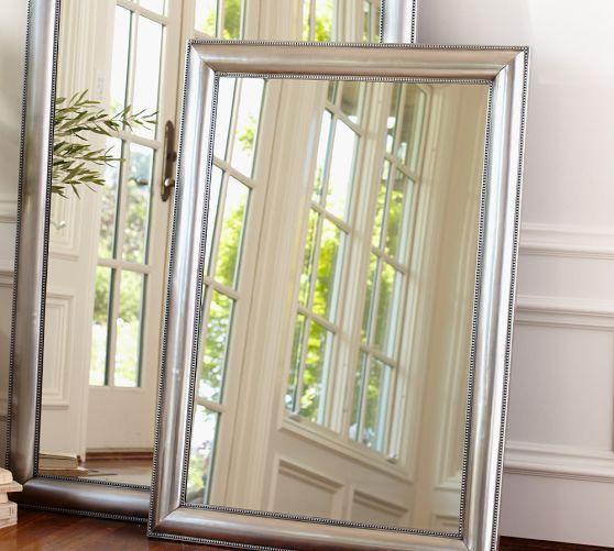 Silver Beaded Rectangle Mirror