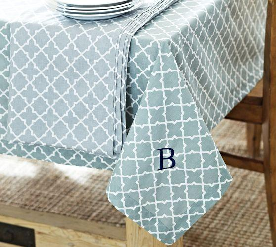 Blue And White Moroccan Tile Monogram Tablecloth