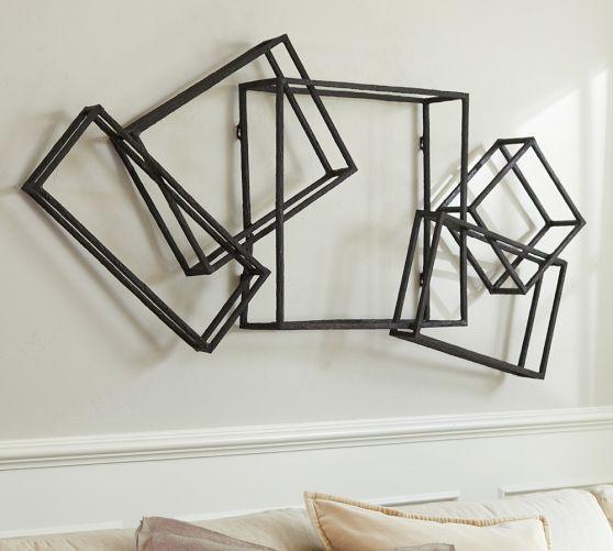 Bronze finish interlocking cubes wall decor - Cube wall decor ...
