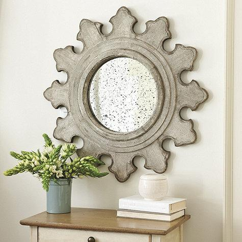 Gray Fleur De Lis Frame Circle Antique Mirror View Full Size