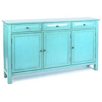Antiqued Turquoise 3 Door Cabinet