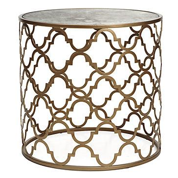 Gold Quatrefoil Round End Table