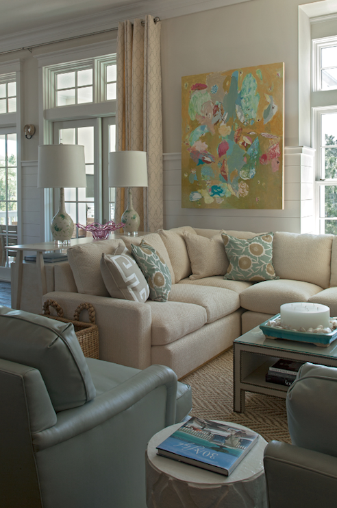 Transitional Living Room With Coastal Vibe And Blue: Collins Interiors