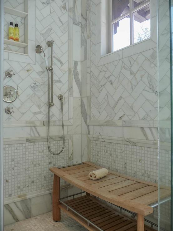 Herringbone Shower Surround - Transitional - bathroom - Pritchett ...