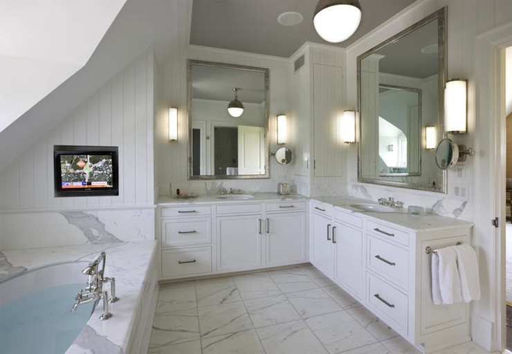 Master Bathroom Tv Niche Transitional Bathroom