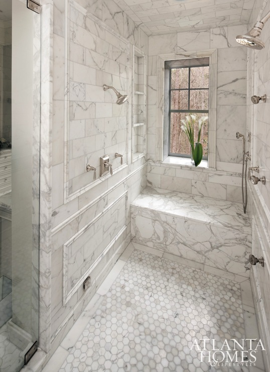 hess studio master bathroom shower features calcutta gold marble