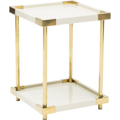 Ivory Lacquered Brass Legs Two Tiered End Table