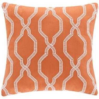 White Geo Orange Decorative Square Pillow Unique Orange Decorative Pillows For Couch