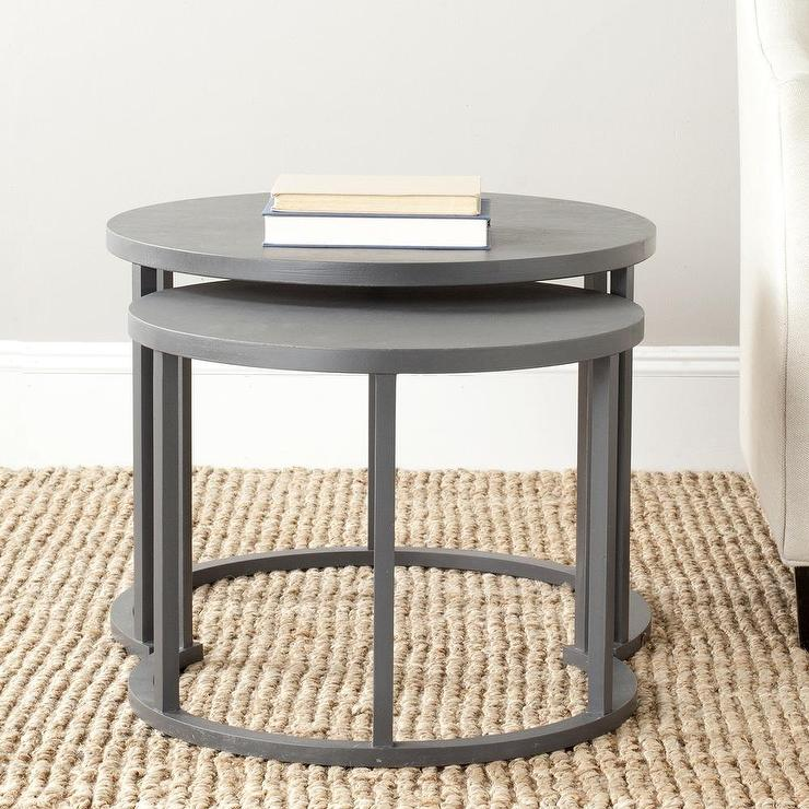 Set of round charcoal grey nesting tables
