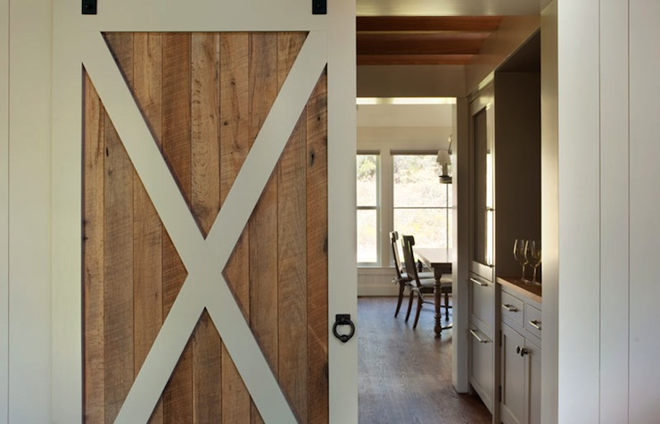 Butler 39 s pantry barn door country kitchen hutker for Barn style front door