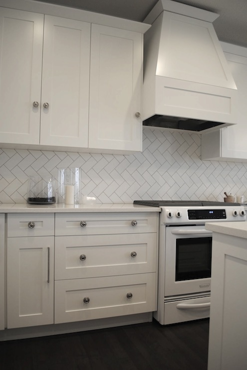 Herringbone Backsplash Black Grout