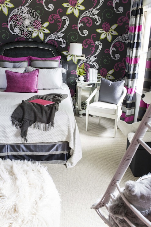 Dana Wolter - Amazing girl's room with pink and black modern floral  wallpaper accent wall framing black velvet headboard with nailhead trim  accented with ...