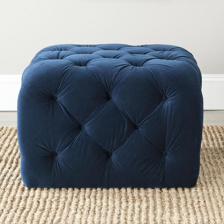 Perfect Button Tufted Navy Blue Velvet Cube Ottoman BV77