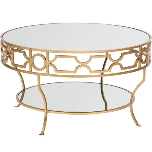 Round Gold Detail Trim Mirrored Top Coffee Table - Gaultier Gold Round Coffee Table