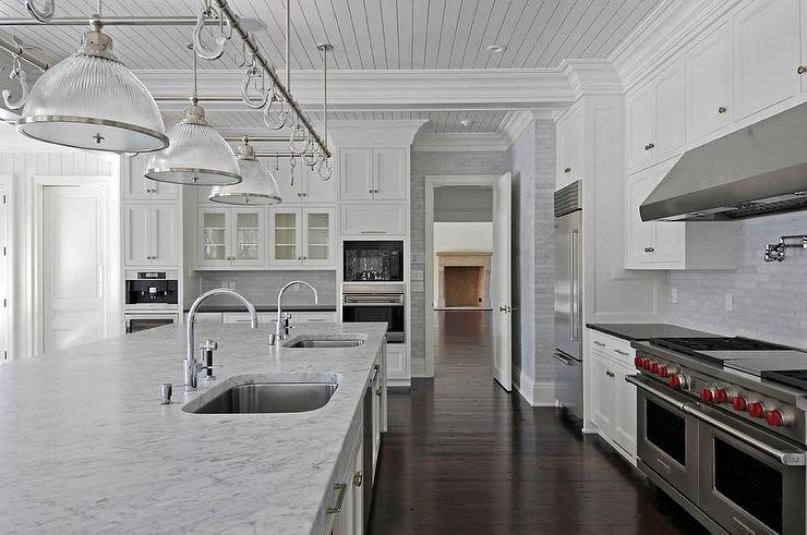 White Carrera marble Countertops  Transitional  kitchen  Michael
