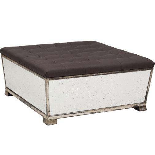 Gray Tufted Fabric Top Antique Mirrored Sides Ottoman