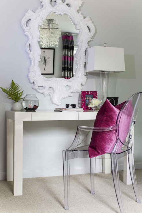 Dana Wolter   Fabulous Girls Room With White Baroque Mirror Over West Elm  Parsons Desk Paired With Ghost Chair Accented With Pink Linen Pillow.