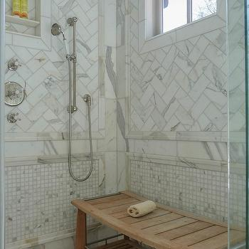 Herringbone Shower Tiles Transitional Bathroom Luxe