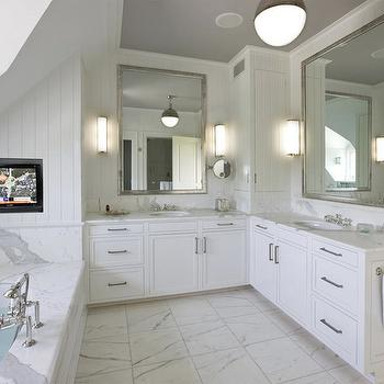 Lovely Master Bathroom TV Niche