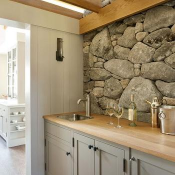 Gray Stone Backsplash Design Ideas