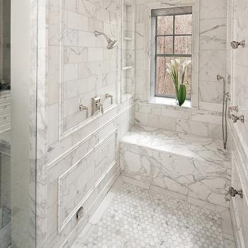 Calcutta gold Marble Shower, Transitional, bathroom, Atlanta Homes & Lifestyles