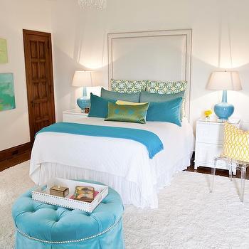 Turquoise Velvet Ottoman, Contemporary, girl's room, B Metro