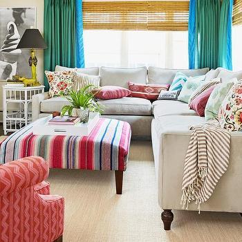 Gray Velvet Sectional, Transitional, living room, HGTV
