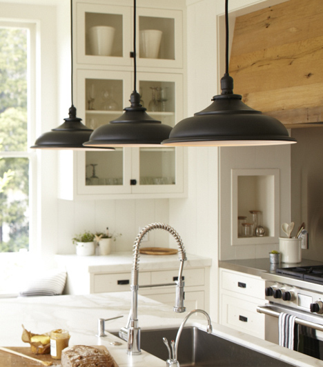 Modern White Kitchen With Island And Pendant Lights: Black Vintage Barn Pendants