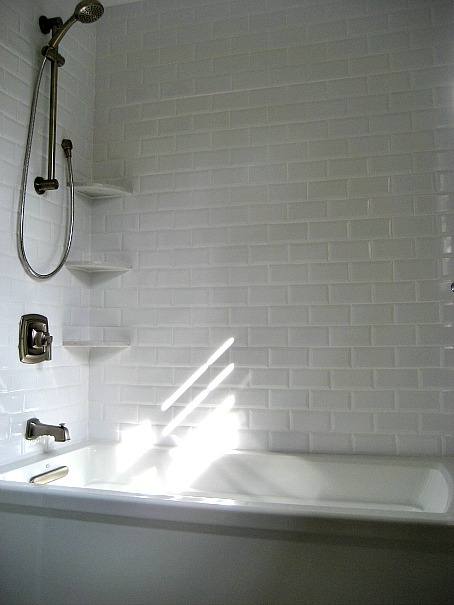 Beveled Subwau Tiles  Transitional bathroom Involving Color