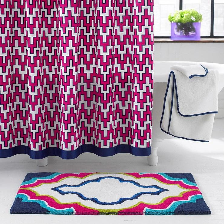 Blue Border Pink Geometric Chevron Pattern Shower Curtain