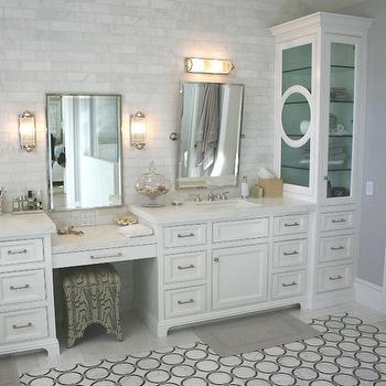 Drop down makeup vanity traditional bathroom jane - Standard height of bathroom mirror ...