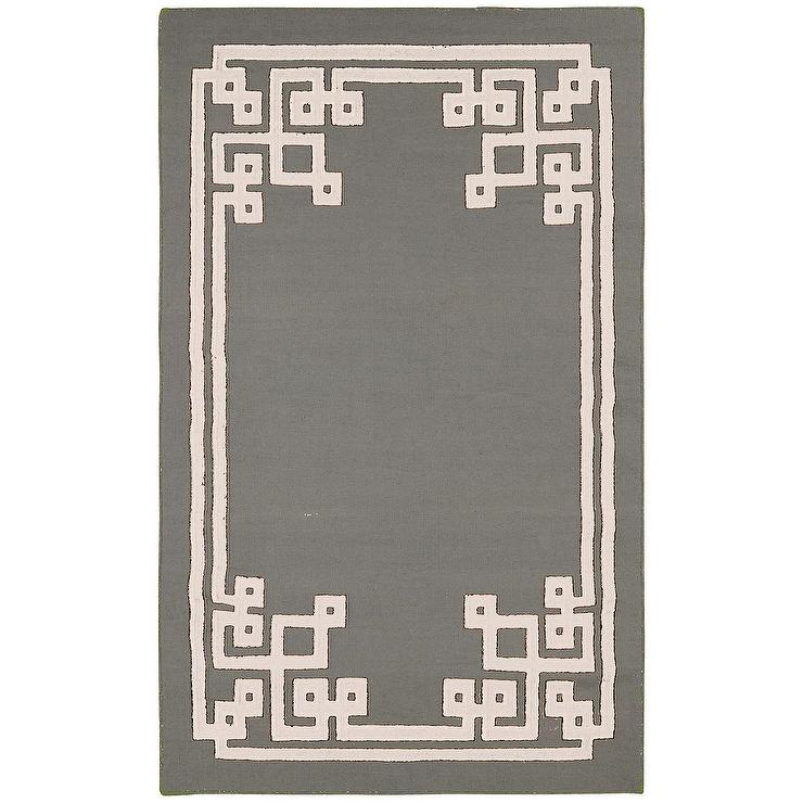 cream greek key border gray hand woven rug