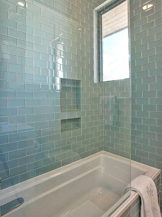 Blue glass subway tiles contemporary bathroom glynis for Blue tile bathroom ideas