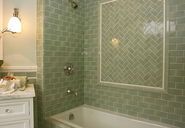 Green Subway Tile Shower Contemporary Bathroom
