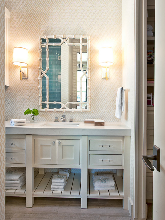 White Bamboo Mirror Transitional Bathroom Glynis