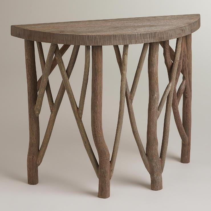 Branch Base Half Moon Wood Foyer Table