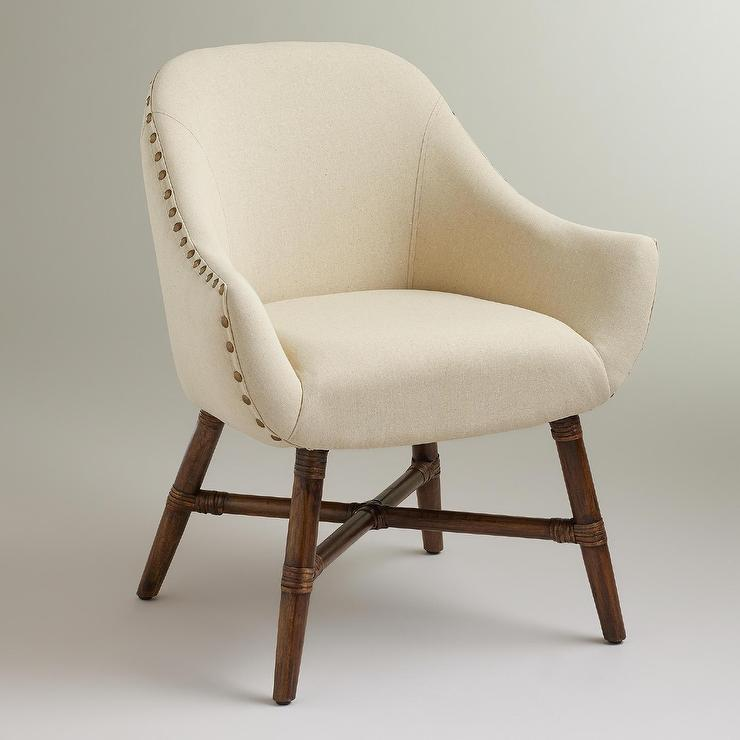Stupendous Set Of 2 Ivory Linen Nailhead Trim Curvy Dining Chair Bralicious Painted Fabric Chair Ideas Braliciousco