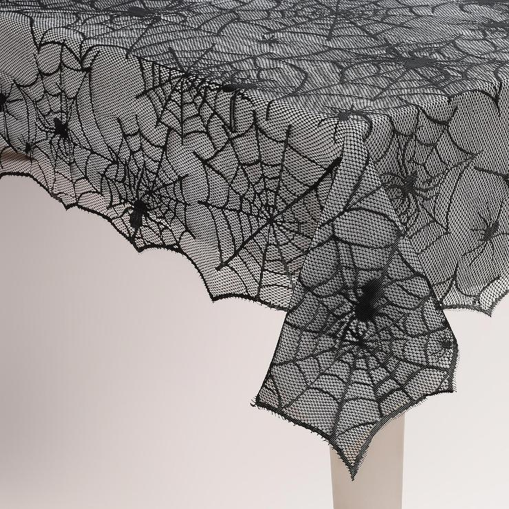 Halloween Table Cloth elegant halloween table decor with black tablecloth Black Spider Web Halloween Tablecloth