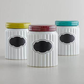 Ribbed Ceramic Chalkboard Canisters, Set of 3, World Market