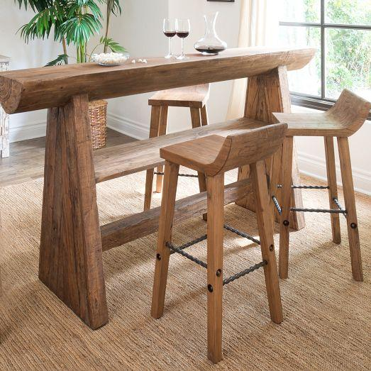 Reclaimed Wood Low Back Bar Stool and Counter Stool - Wood Low Back Bar Stool And Counter Stool