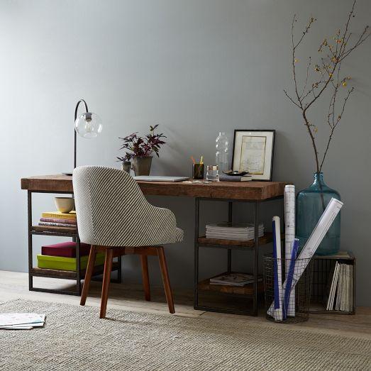 hewn wood and iron side shelves desk. Black Bedroom Furniture Sets. Home Design Ideas