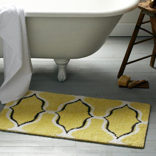 Yellow Trellis Geometric Ogee Chain Bath Mat
