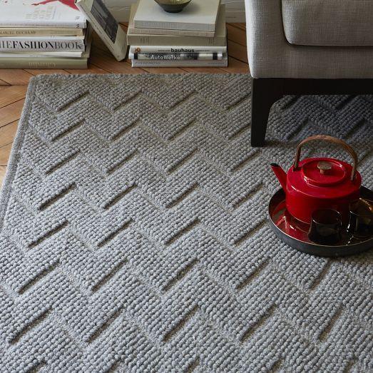 Chevron Textured Peaks Wool Rug