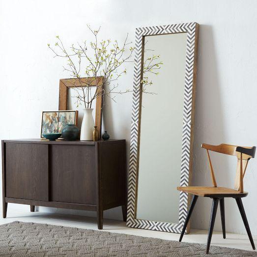 Gray Herringbone Bone Inlay Floor Mirror